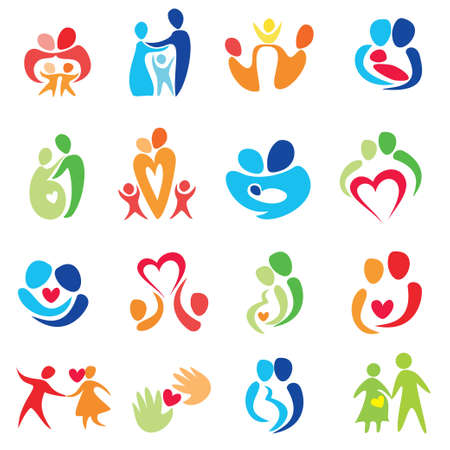 child care: happy family icons, vector symbols collection