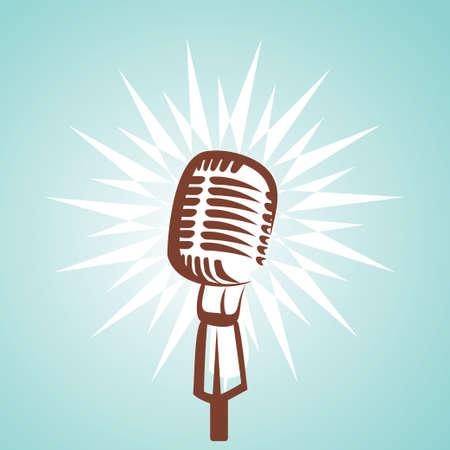 radio microphone: s�mbolo de micr�fono retro