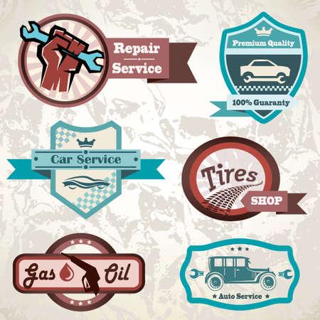 tire shop: old retro car emblem, collection of vintage vector labels Illustration