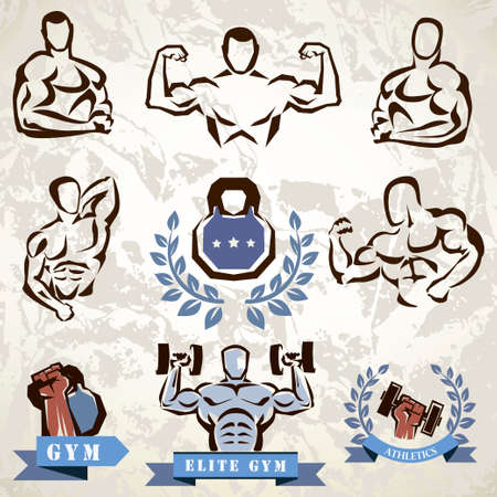 workout: gym, fitness emblems collection