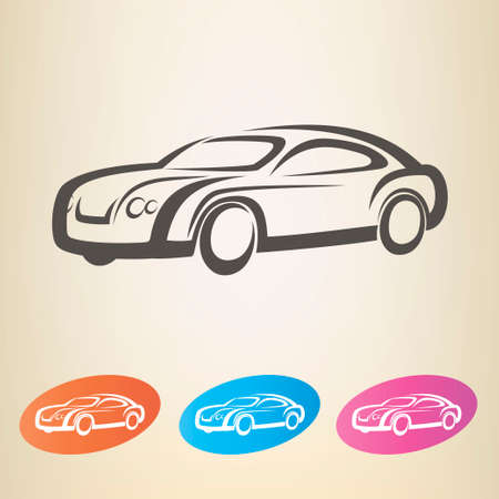 modern car outlined vector symbol Vector
