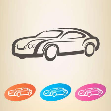silhouette voiture: symbole vecteur voiture moderne décrit Illustration