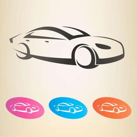 motor racing: modern car outlined vector symbol