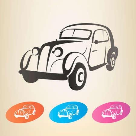 classic art: old retro car vector symbol