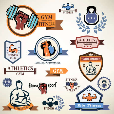 gym, fitness emblems collection Vector