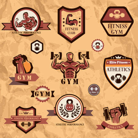 signos de pesos: gimnasio, colección emblemas de fitness Vectores