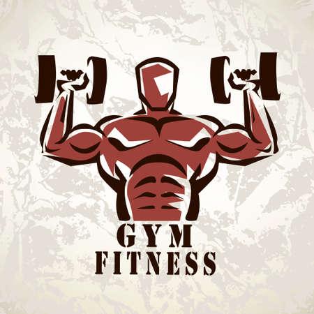 sexy muscular man: bodybuilder, athlete exercising symbol Illustration