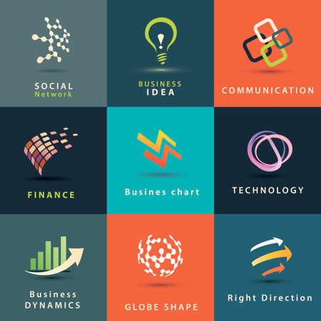 abstrakt Business-und Technologie-Vektor-Icons gesetzt