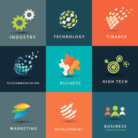 logistics world: abstract business and technology vector icons set