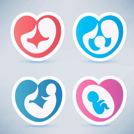eltern und kind: Familie und Elternschaft abstrakte Symbole, Aufkleber Sammlung in Herzform Illustration