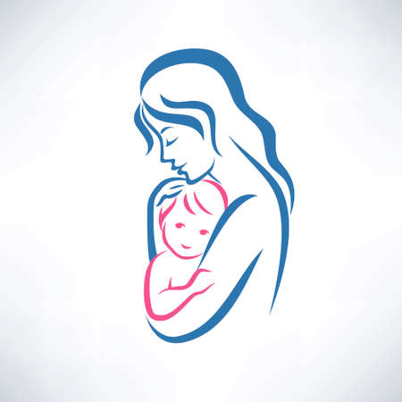 mother and son vector symbol