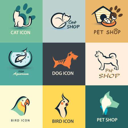 peces de acuario: mascotas colección de iconos vectoriales