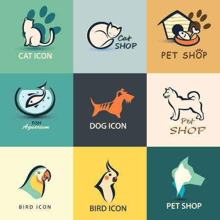 cat dog: pets vector icons collection Illustration