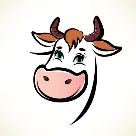 bull's eye: happy cow portrait Illustration