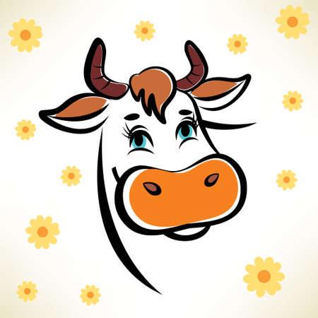 happy cow portrait Stock Illustratie