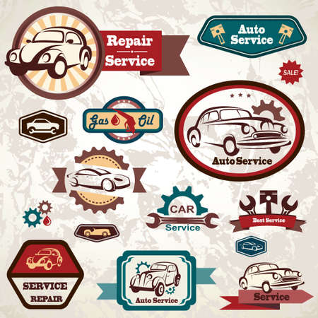 fuel rod: car service retro emblem Illustration