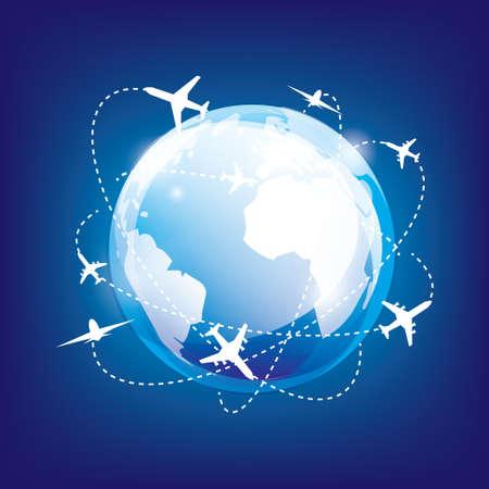 internationale Reisen mit dem Flugzeug, glänzend Erde im Raum und Flugzeuge Illustration
