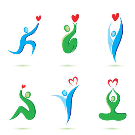 people with hearts icons Vector