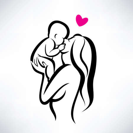 mother kissing her child, isolated vector symbol Vector