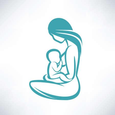 moeder haar baby borstvoeding Stock Illustratie