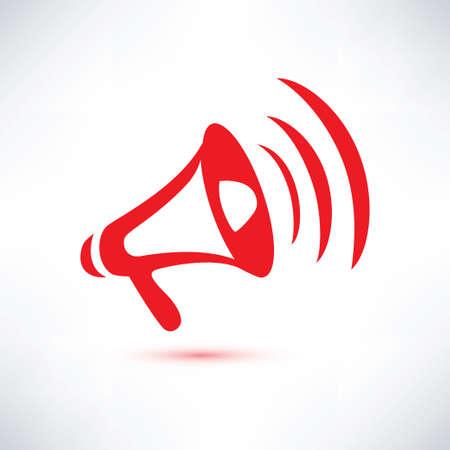 announcement message: megaphone, loudspeaker isolated symbol Illustration