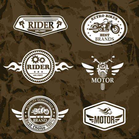 casco moto: etiquetas de la vendimia de la motocicleta, juego de emblemas