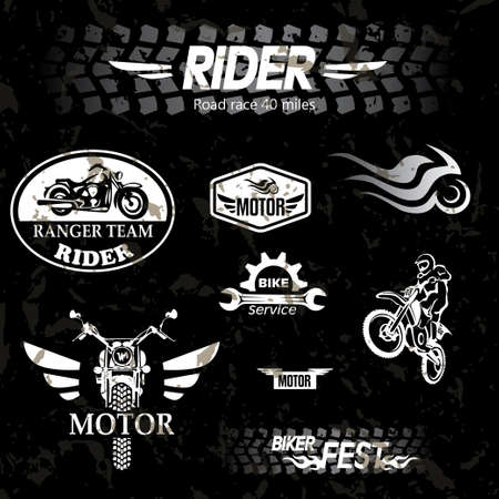 racing wings: motorcycle vintage labels, set of emblems