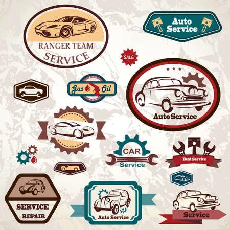 tire shop: car service retro emblem Illustration