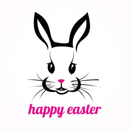 silhouette lapin: Lapin de Pâques heureux