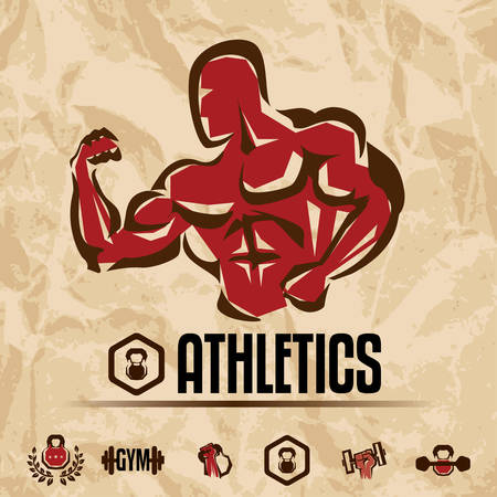 lifting weights: athletics, gym labels collection, vintage fitness emblems  Illustration