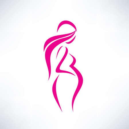 животик: беременная женщина силуэт, изолированных символ вектор Иллюстрация