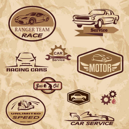 rod sign: racing cars vintage labels