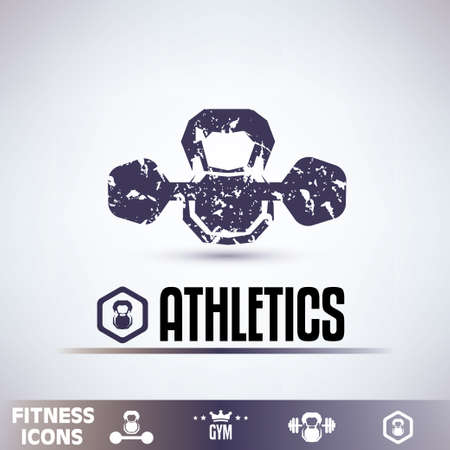 gym icons, fitness grunge emblems collection Vector
