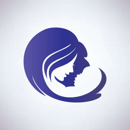 baby and mother: mother and her baby, isolated vector symbol