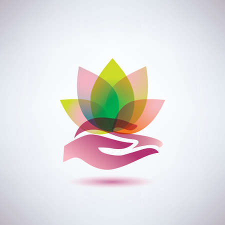 hands holding a lotus flower icon, yoga and meditation concept Illustration