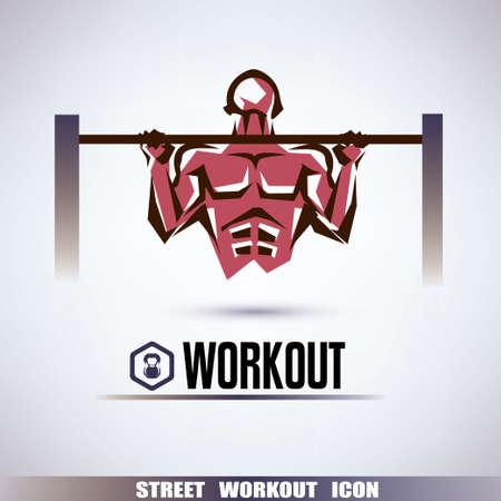 straat workout symbool, man omhoog te trekken op de horizontale balk