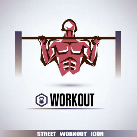 bell: street workout symbol, man is pulling up on the horizontal bar