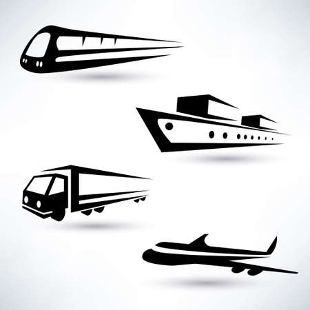 cargo transportation vector icons set, logistics concept Vector