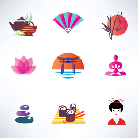 japanese culture, set of icons Ilustração