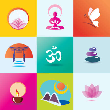 yoga, spa, meditation and oriental concept,  set of icons Vector