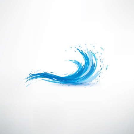 wave: blue water wave, abstract vector symbol Illustration