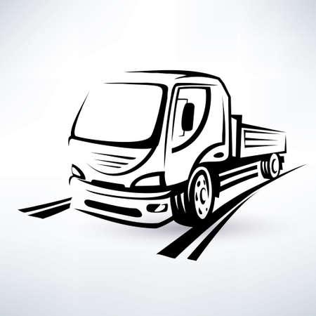 transporter: van, bulk cargo transport outlined vector sketch
