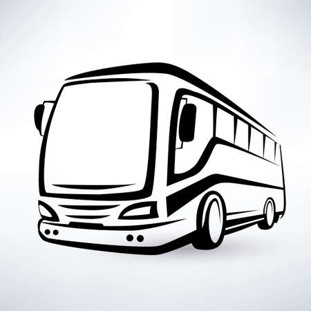 tourists stop: modern bus symbol, outlined vector icon Illustration
