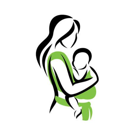 Mutter mit ihrem Baby in einem Tragetuch