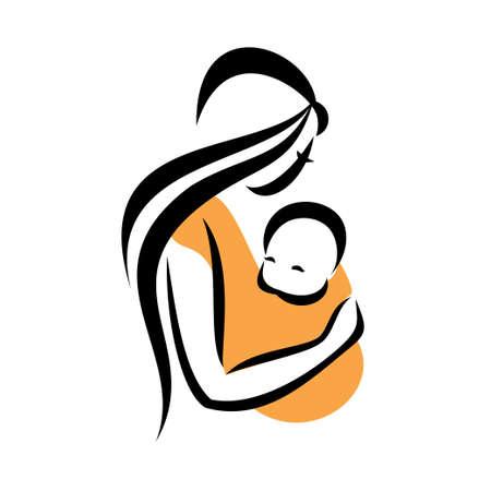 draagdoek: moeder haar baby in een draagdoek