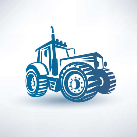 fields: modern tractor vector symbol Illustration