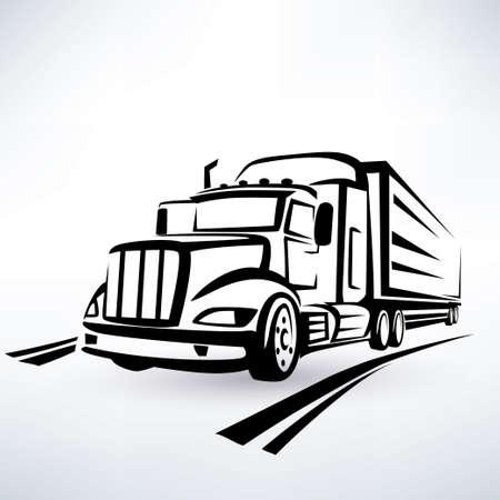 remolques: americano vector cami�n silueta, bosquejo del carro descrito Vectores