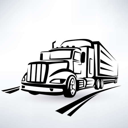 american lorry vector silhouette, truck outlined sketch
