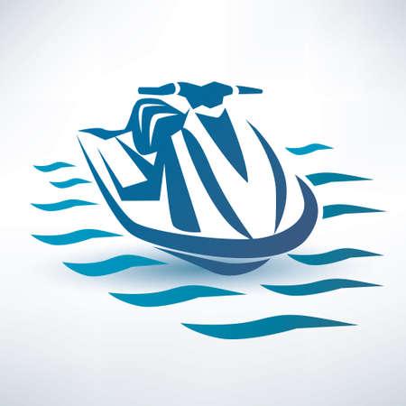 jet ski, water scooter outlined vector sketch Stock Illustratie