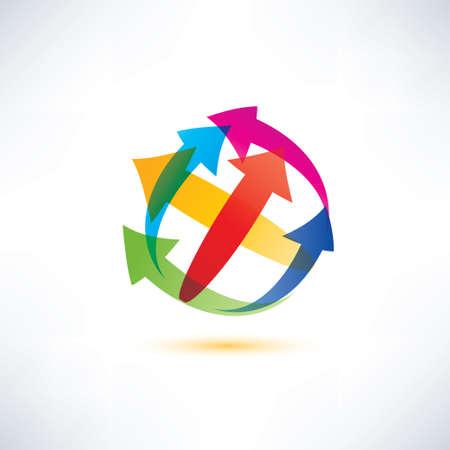 globe arrow: globe arrow abstract vector symbol, business and technology concept